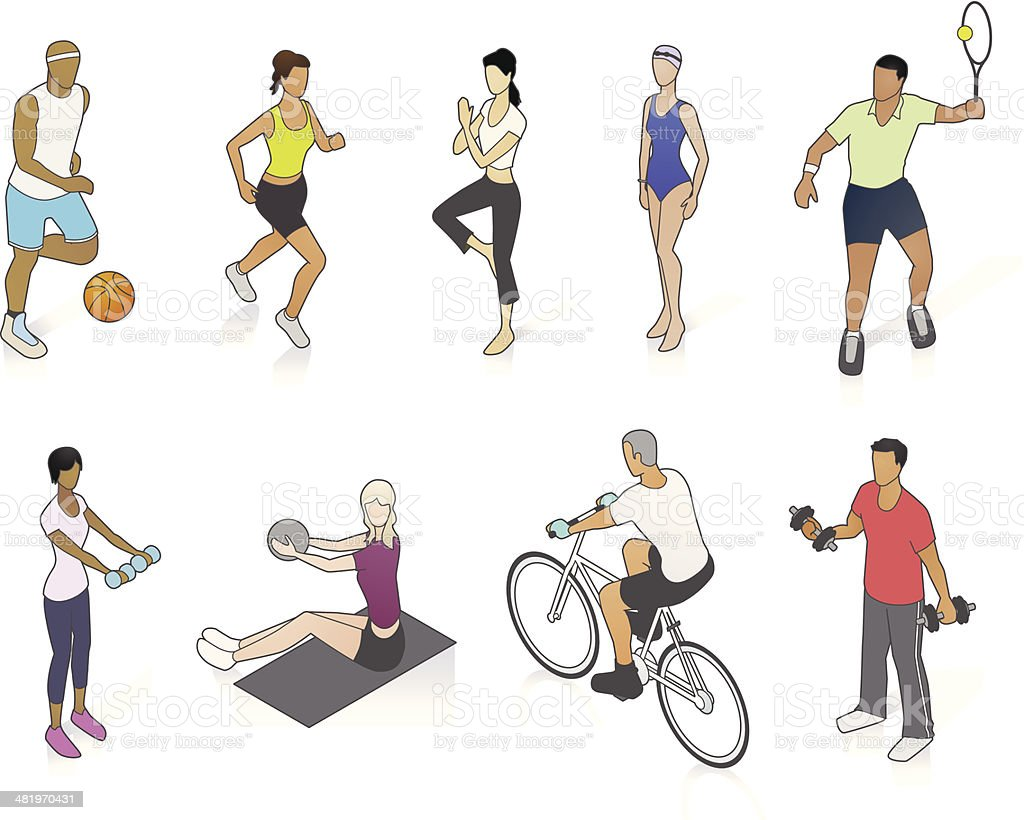 Fitness People Illustration royalty-free fitness people illustration stock vector art & more images of activity