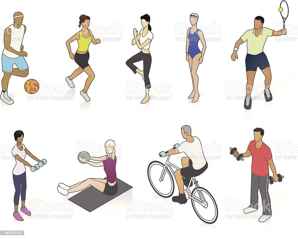 Fitness People Illustration vector art illustration
