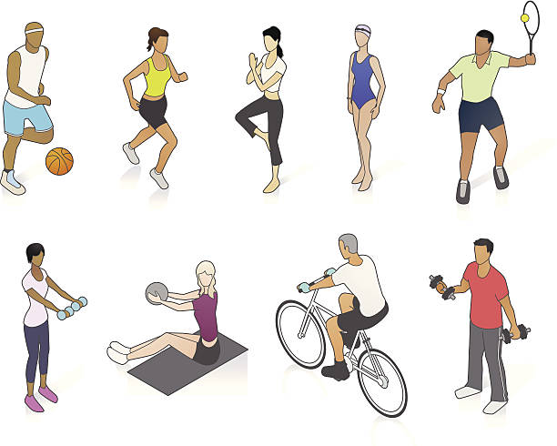 fitness people illustration - mathisworks people icons stock illustrations, clip art, cartoons, & icons