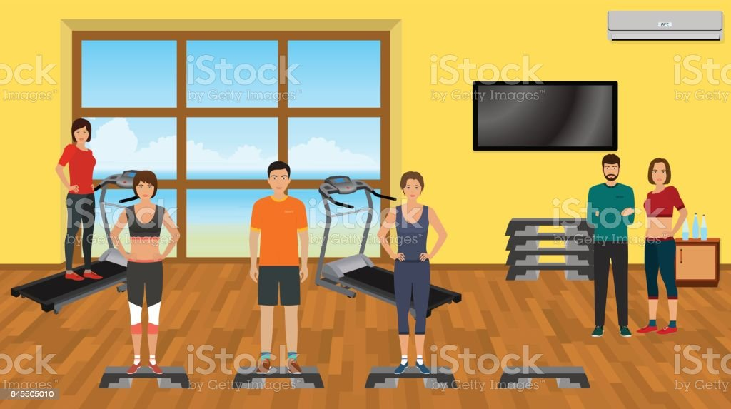 Fitness people in sports wear the gym with training