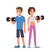 Fitness man and woman standing with barbell. Flat style vector illustration isolated on white  background.