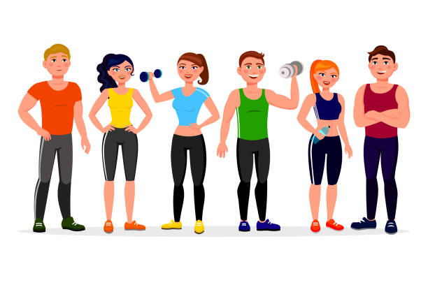 Fitness people vector illustration in flat design. Athletes in workout gym cartoon characters isolated on white background. Group of people dressed in sports clothes with dumbbells. vector art illustration