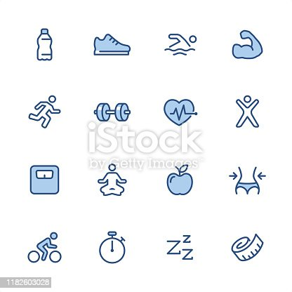 16 indigo and blue Fitness icons set #14 Pixel perfect icon 48x48 pх, outline stroke 2 px.  First row of  icons contains: Water Bottle, Swimming Person, Sports Shoe, Muscular build;  Second row contains:  Running Person, Dumbbell icon, Cardio load, Exercising;  Third row contains:  Weights Scale, Lotus position, Apple - Fruit, Waist measuring;   Fourth row contains:  Cycling, Stopwatch, Sleeping, Tape Measure.  Complete Indigico collection - https://www.istockphoto.com/collaboration/boards/t5bVQfKvf0a-h6WHcFLuIg