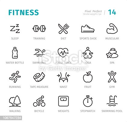 Fitness - 20 Outline Style - Single line icons with captions / Set #14 Designed in 48x48pх square, outline stroke 2px.  First row of outline icons contains: Sleep, Training, Diet, Sports Shoe, Muscular;  Second row contains: Water Bottle, Swimming, Pulse Trace, Yoga, Spa;  Third row contains: Running, Tape Measure, Waist, Fruit, Gym;  Fourth row contains: Walking, Bicycle, Weights, Stopwatch, Swimming Pool.  Complete Signico collection - https://www.istockphoto.com/collaboration/boards/VT_7sDWo80OLh7foVxchBQ