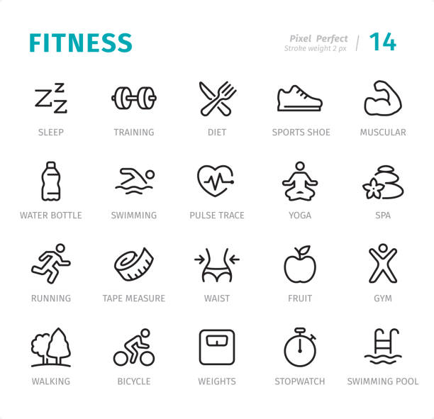 fitness - pixel perfect line icons with captions - talia tułów stock illustrations