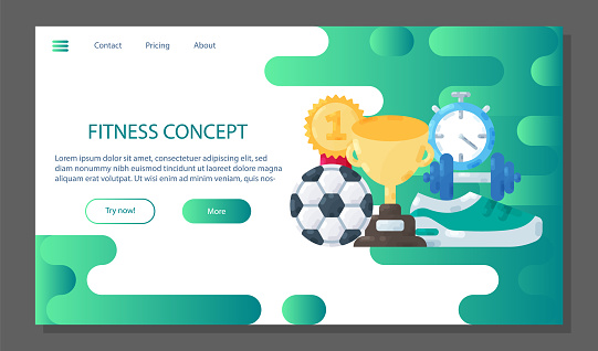 Fitness poster template. Sport landing page concept banner icons set . Equipment