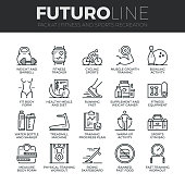 Modern thin line icons set of fitness gym equipment, sports recreation activity. Premium quality outline symbol collection. Simple mono linear pictogram pack. Stroke vector  concept for web graphics.