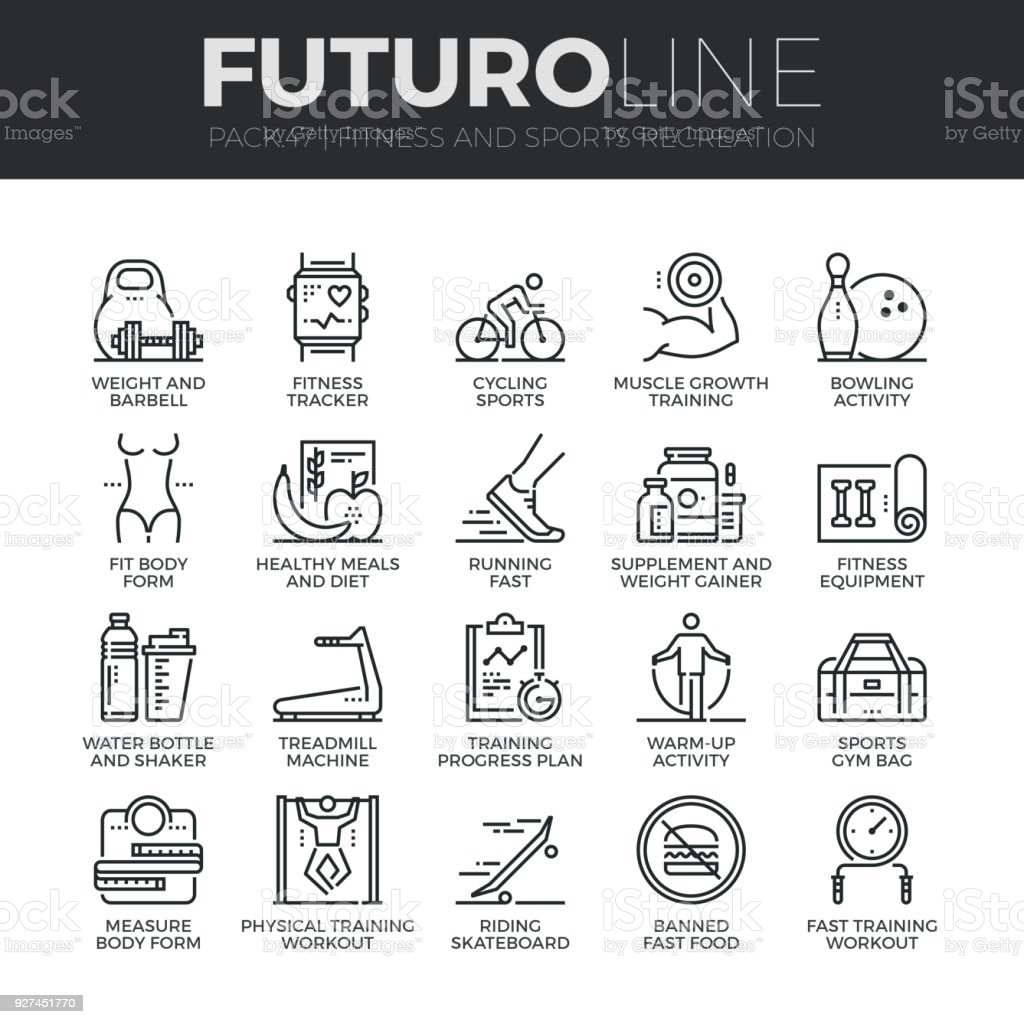 Fitness Recreation Futuro Line Icons Set vector art illustration