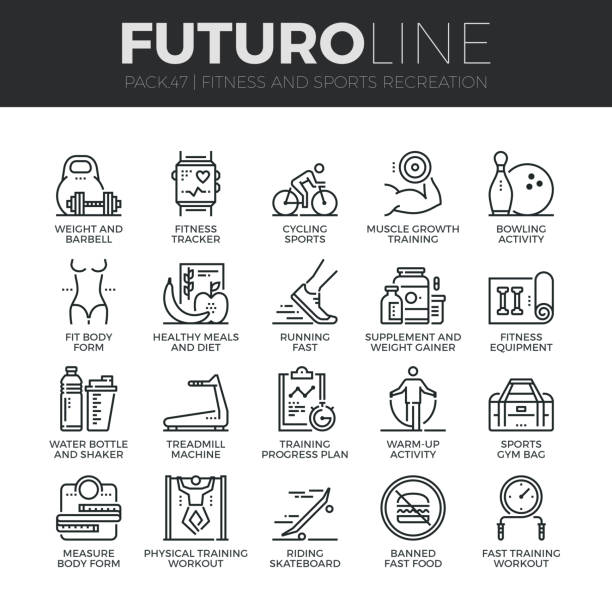 Fitness Recreation Futuro Line Icons Set vector art illustration