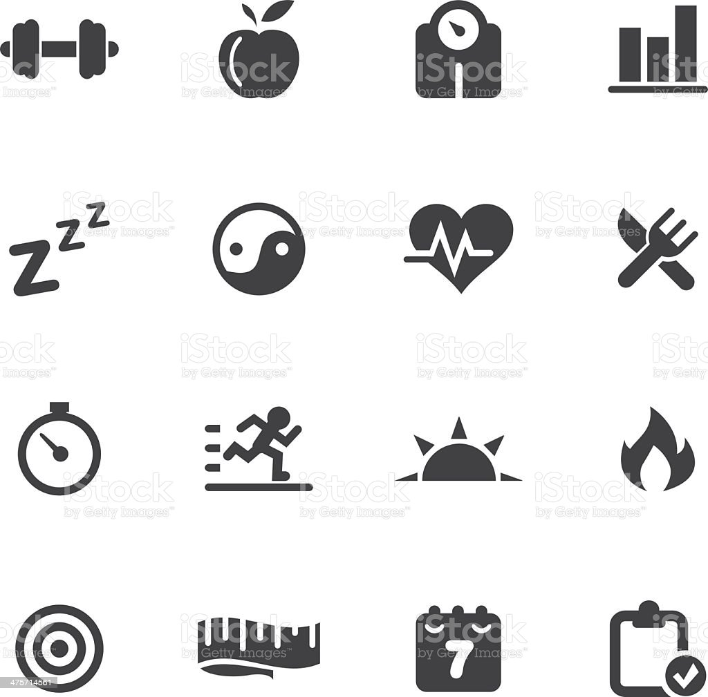 Fitness Silhouette Icons vector art illustration