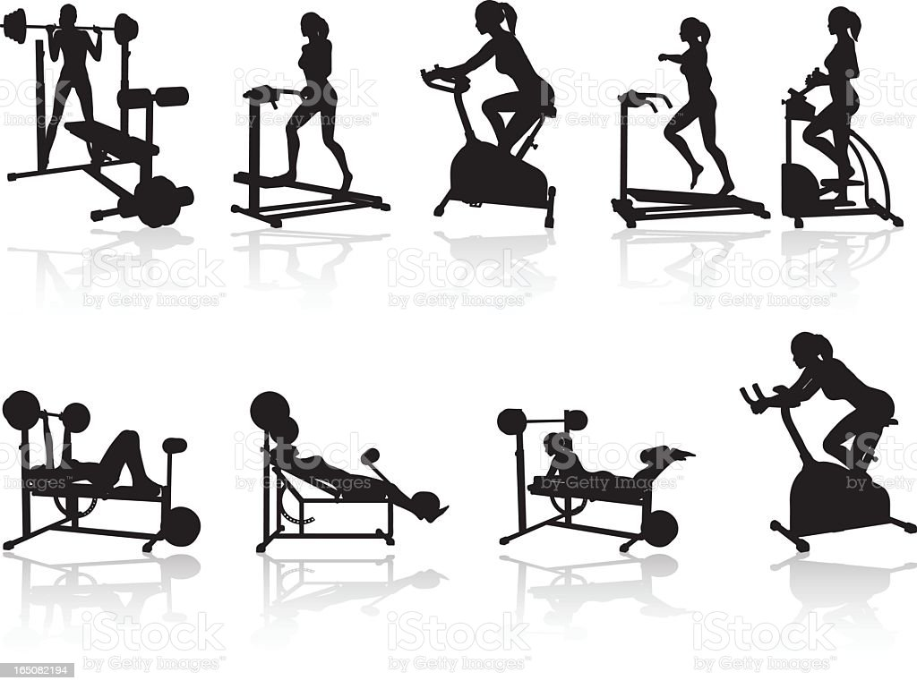 Fitness Silhoutte Collection royalty-free stock vector art