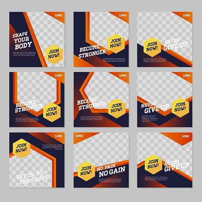 Fitness social media banner post design template
