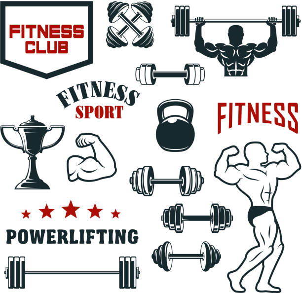 Fitness sport club, gym and bodybuilding icon set vector art illustration