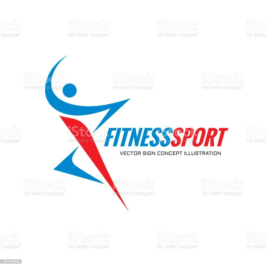 Fitness Sport - vector logo template concept illustration. Human character. Abstract running man figure. vector art illustration