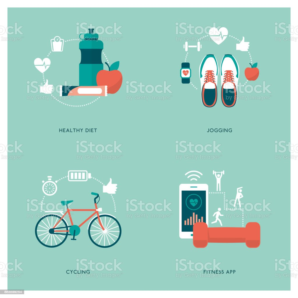 Fitness, sports and diet vector art illustration