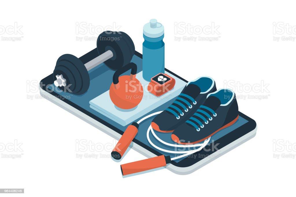 Sport, fitness en workout app - Royalty-free Activiteitentracker vectorkunst