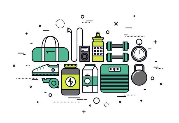 illustrazioni stock, clip art, cartoni animati e icone di tendenza di fitness sportswear line style illustration - icon set healthy