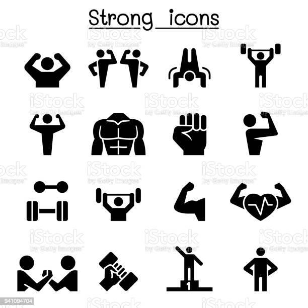 Fitness Strong Icon Set - Arte vetorial de stock e mais imagens de Adulto