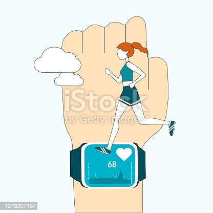 A woman running on the smart watch