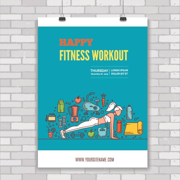 bildbanksillustrationer, clip art samt tecknat material och ikoner med fitness mall med linje ikoner - paper mass