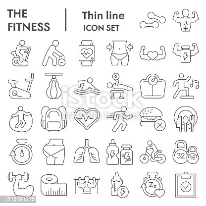 Fitness thin line icon set. Health care and sport signs collection, sketches, logo illustrations, web symbols, outline style pictograms package isolated on white background. Vector graphics
