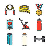 A set of 25 color thin line fitness icons. File is built in the CMYK color space for optimal printing, and can easily be converted to RGB. Color swatches are global for quick and easy color changes throughout the entire set of icons.