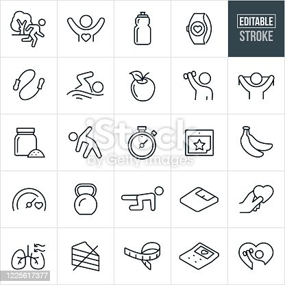 A set of fitness icons that include editable strokes or outlines using the EPS vector file. The icons include a person running outdoors, healthy person with arms raised, water bottle, fitness watch, jumprope, person swimming, apple, person using dumbbell, person with exercise band, protein supplement, person stretching, stopwatch, calendar, bananas, goal meter, kettle bell, person strengthening, weight scale, hand holding heart, human lungs, healthy eating, tape measure, calculator and other related icons.