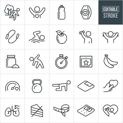 Fitness Thin Line Icons - Editable Stroke