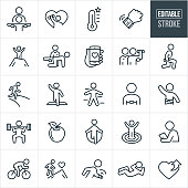 A set of fitness icons that include editable strokes or outlines using the EPS vector file. The icons include a personal trainer working with a client, person lifting weights, goal meter, fitness watch, person on top of a summit with arms raised, personal trainer helping client with strengthening exercise, smartphone with heart, personal trainer helping client lift weights, person performing a lunge while holding a dumbbell, person running on a trail, person running across finish line, person wearing heart rate monitor, person with tape measure, apple, person jumping rope, person reaching fitness goal, personal trainer, person cycling, person climbing mountain, person doing a sit-up and other related icons.