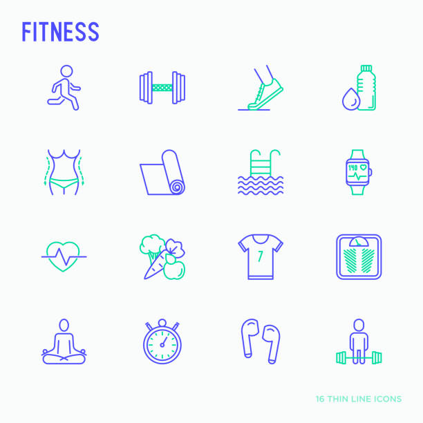 fitness thin line icons set of running, dumbbell, waist, healthy food, swimming pool, pulse, wireless earphones, sportswear, yoga. modern vector illustration. - talia tułów stock illustrations