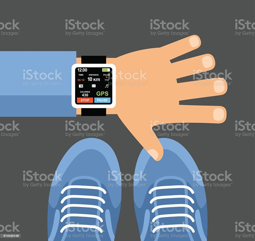 Fitness Tracker App For Smartwatch And Smartphone Stock