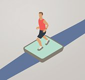 A man is running while wearing a fitness tracker or smart watch. Vector illustration is presented in isometric view.