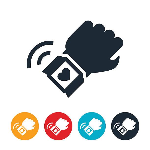 bildbanksillustrationer, clip art samt tecknat material och ikoner med fitness tracker icon - armbandsur