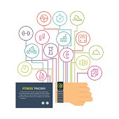 Vector fitness tracker flat line vector infographic. Hand with bracelet wireless device for monitoring sport activity, burning of calories, sleep, ingestion, distance, steps, heartbeat.