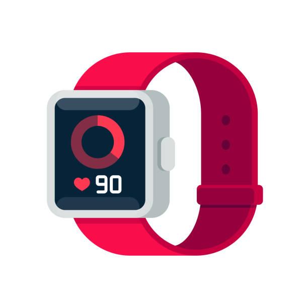 Fitness tracker smart watch Fitness tracker smart watch illustration with heart rate monitor, flat cartoon vector style design. Modern stylish wearable device. fitness tracker stock illustrations