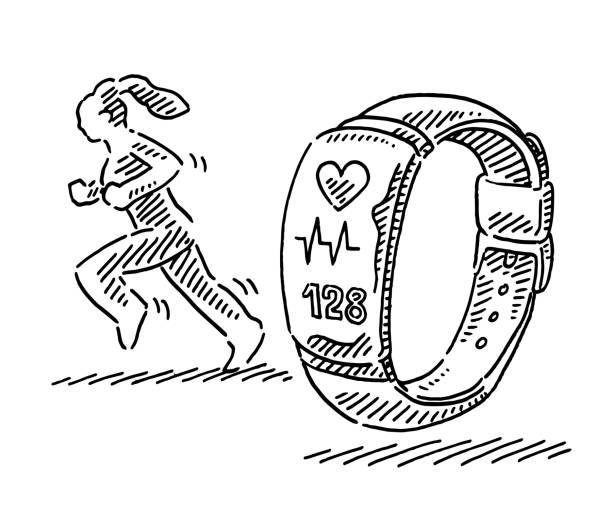 Fitness Tracker Woman Jogging Symbol Drawing Hand-drawn vector drawing of a Fitness Tracker and a Woman Jogging Symbol. Black-and-White sketch on a transparent background (.eps-file). Included files are EPS (v10) and Hi-Res JPG. running stock illustrations