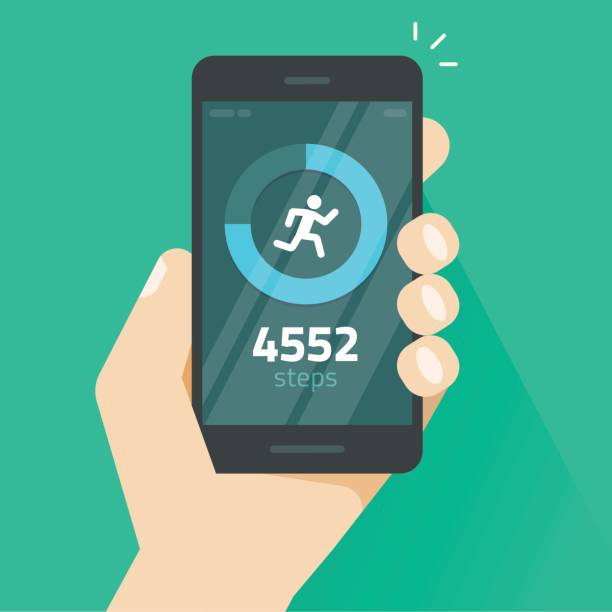 Fitness tracking app on mobile phone screen vector illustration, smartphone with run tracker, walk steps counter Fitness tracking app on mobile phone screen vector illustration flat cartoon style, smartphone with run tracker, running or walk steps counter sport tech on cellphone counting stock illustrations