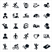 A set of icons representing the fitness tracking industry. I icons show several different instances of a person using a fitness tracking device to measure and record personal fitness in achieving health goals. The icons include running, fitness tracker, goals, swimming, cycling, lifting weights, smartphone apps, heart rate monitor, jump roping, analyzing statistics and sleep monitoring among others.
