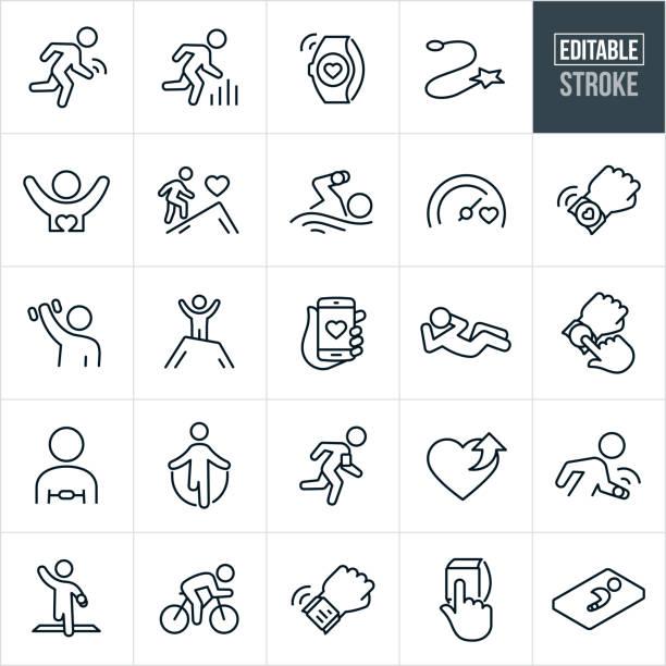 Fitness Tracking Thin Line Icons - Ediatable Stroke vector art illustration