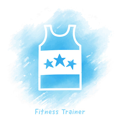 Fitness Trainer Doodle Watercolor Background