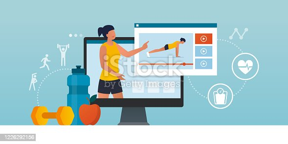 Fitness trainer online: professional coach showing how to workout in a video, distance learning and sports concept