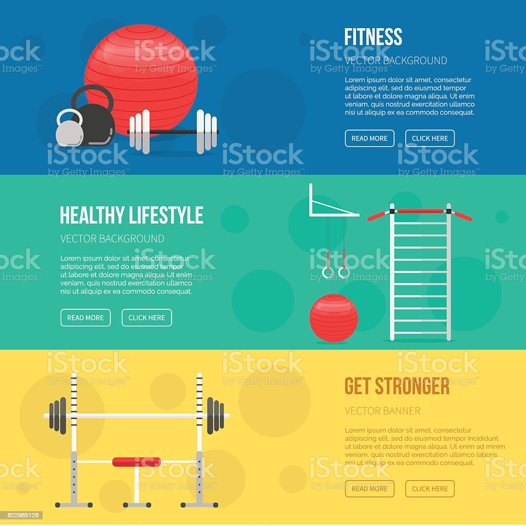 Fitness training and gym club banners set. Fitness center flyers vector art illustration