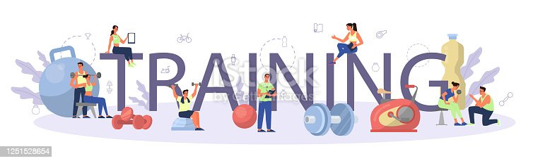 istock Fitness training typographic header concept. Workout in the gym with profession sportsman. 1251528654