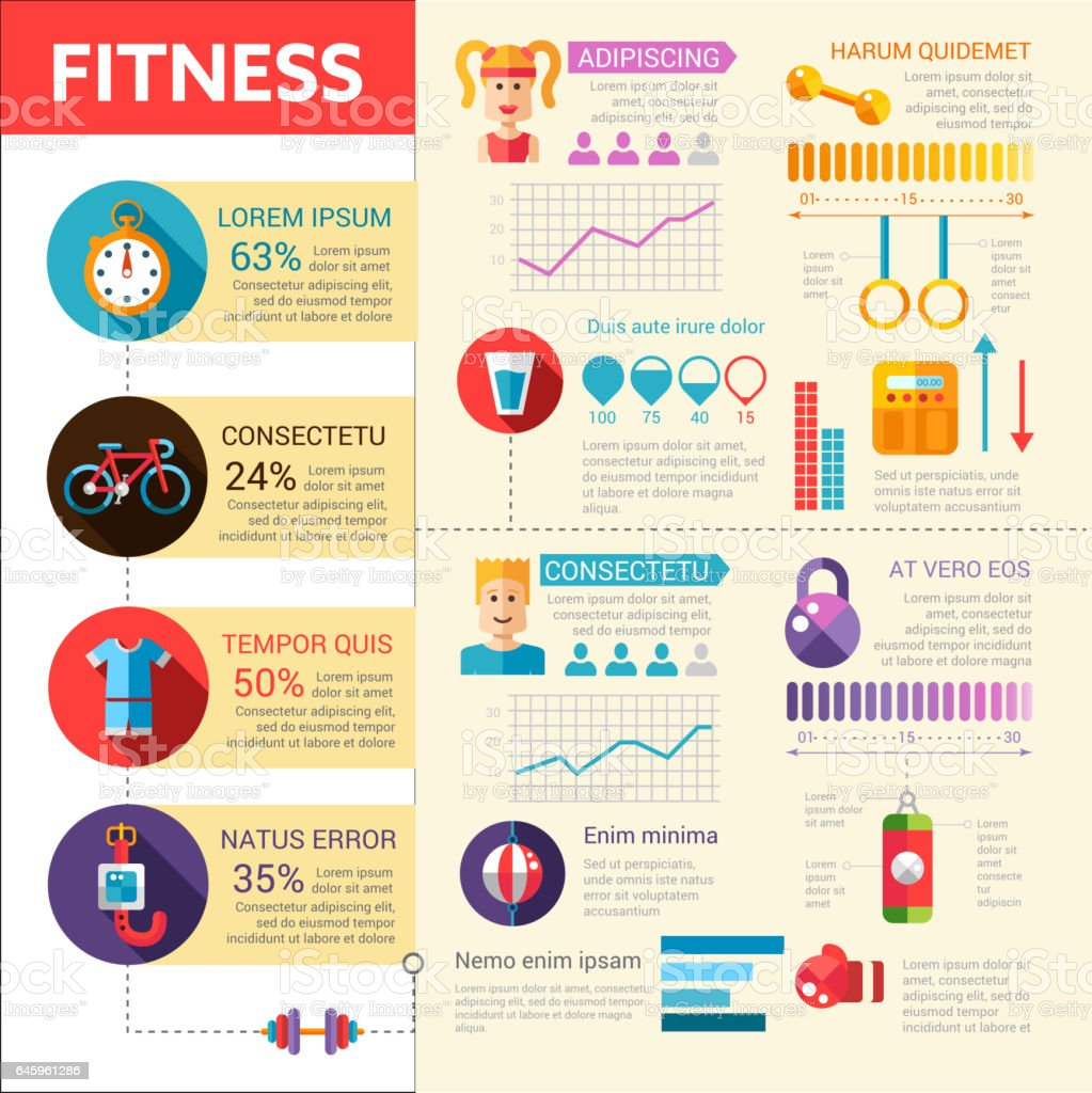 fitness vector flat design illustrative template with infographic