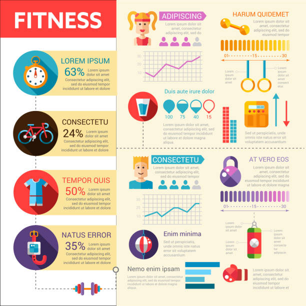 fitness - vector flat design illustrative template with infographic elements - personal trainer stock illustrations, clip art, cartoons, & icons