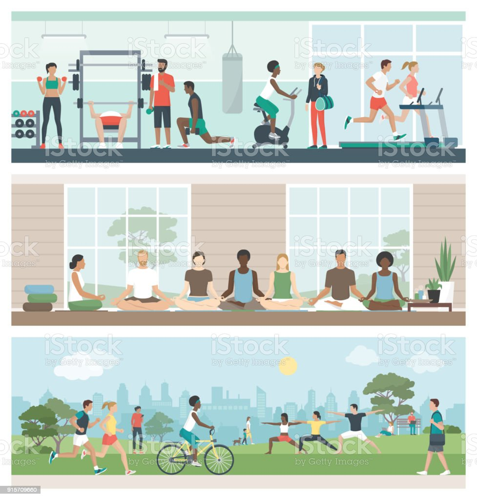 Fitness, wellbeing and healthy lifestyle vector art illustration