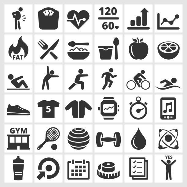 &健康。フィットネスジムとダイエットのアイコンセットベクトルインタフェース - トレーニングのカレンダー点のイラスト素材/クリップアート素材/マンガ素材/アイコン素材