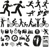 Icon set of people doing exercise and sleep and diet related concepts whilst wearing fitness technology.
