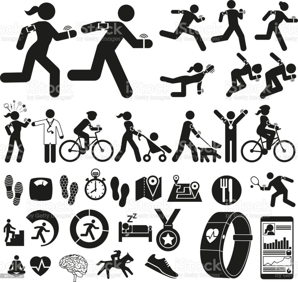 Fitness with Technology vector art illustration