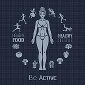 Fitness woman. Healthy vegan eating